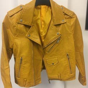 Jackets & Blazers - Mustard Yellow Vegan Leather Jacket